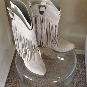 Cute grey suede western style boots.